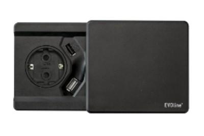 Square80 Hvit 1x stikk 1x 1A USB lader Qi EVOline Norge